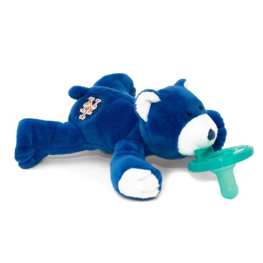 WubbaNub MLB New York Mets Bear is soft royal blue fabric with accents of white on ears, snout and pads and NY emblem on rear