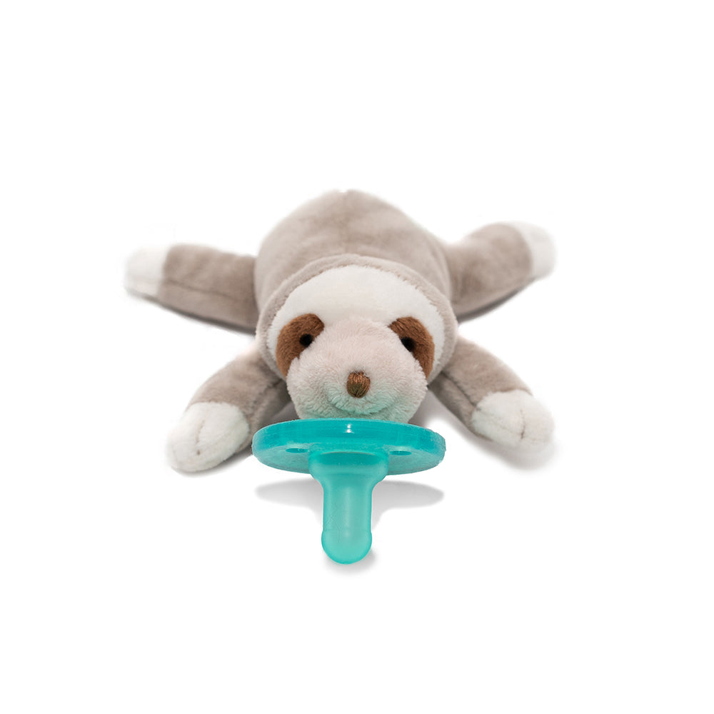 WubbaNub sloth pacifier is tan with brown and white accents