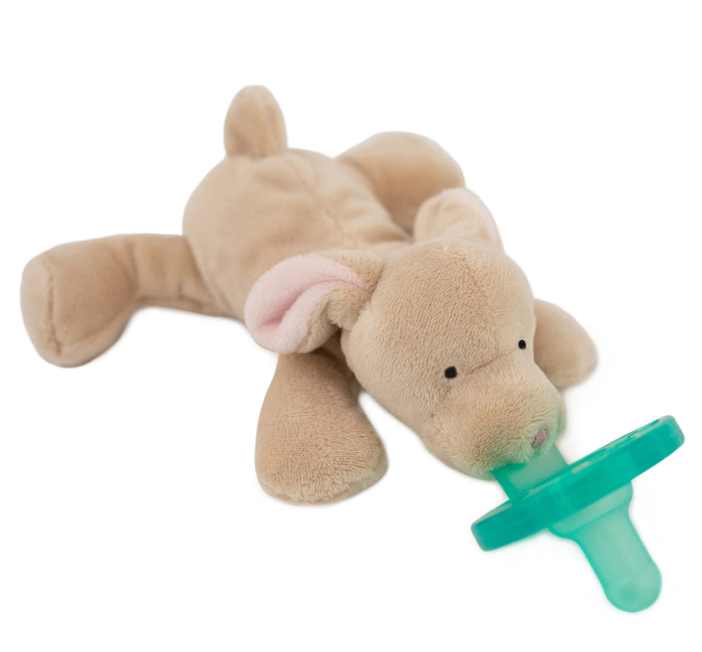 WubbaNub Bunbun Bunny plush pacifier is tan with pink accents