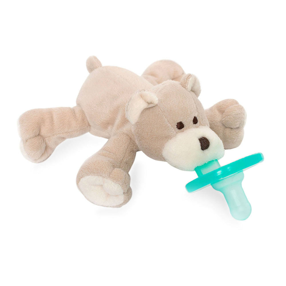 WubbaNub infant plush pacifier tan bear is soft beige fabric with cream accents on paws, face and ears
