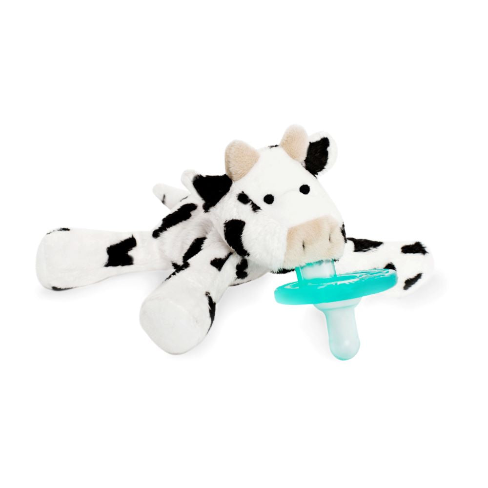 WubbaNub Infant Plush Pacifier - baby cow is black and white spotted with tan ears and snout
