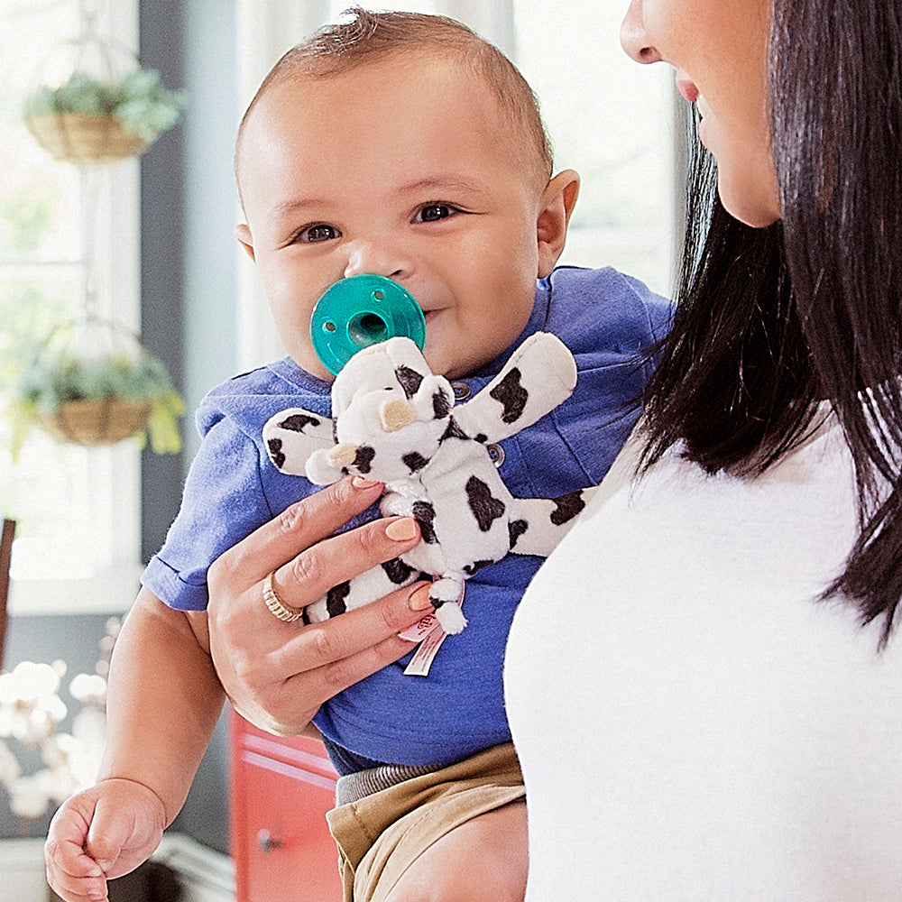 Spotted Moo cow is also searched on wubbanub.com  pacifier holder  Mam  Nookums  Mary Meyers  Philips Avent Soothie Snuggle  Baby registry search  Lovey  Blankie  Walmart  Target  Buy Buy Baby