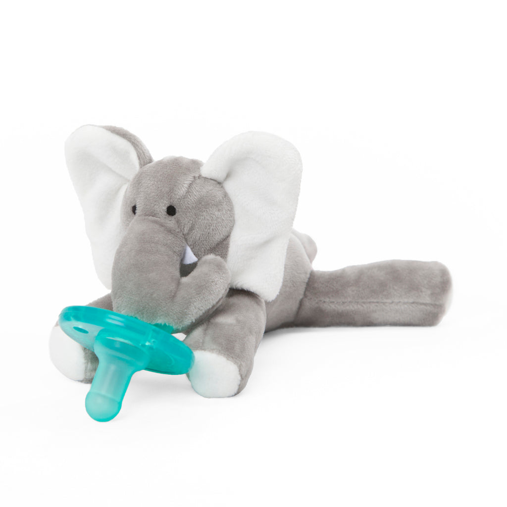 WubbaNub grey elephant plush pacifier has white accents