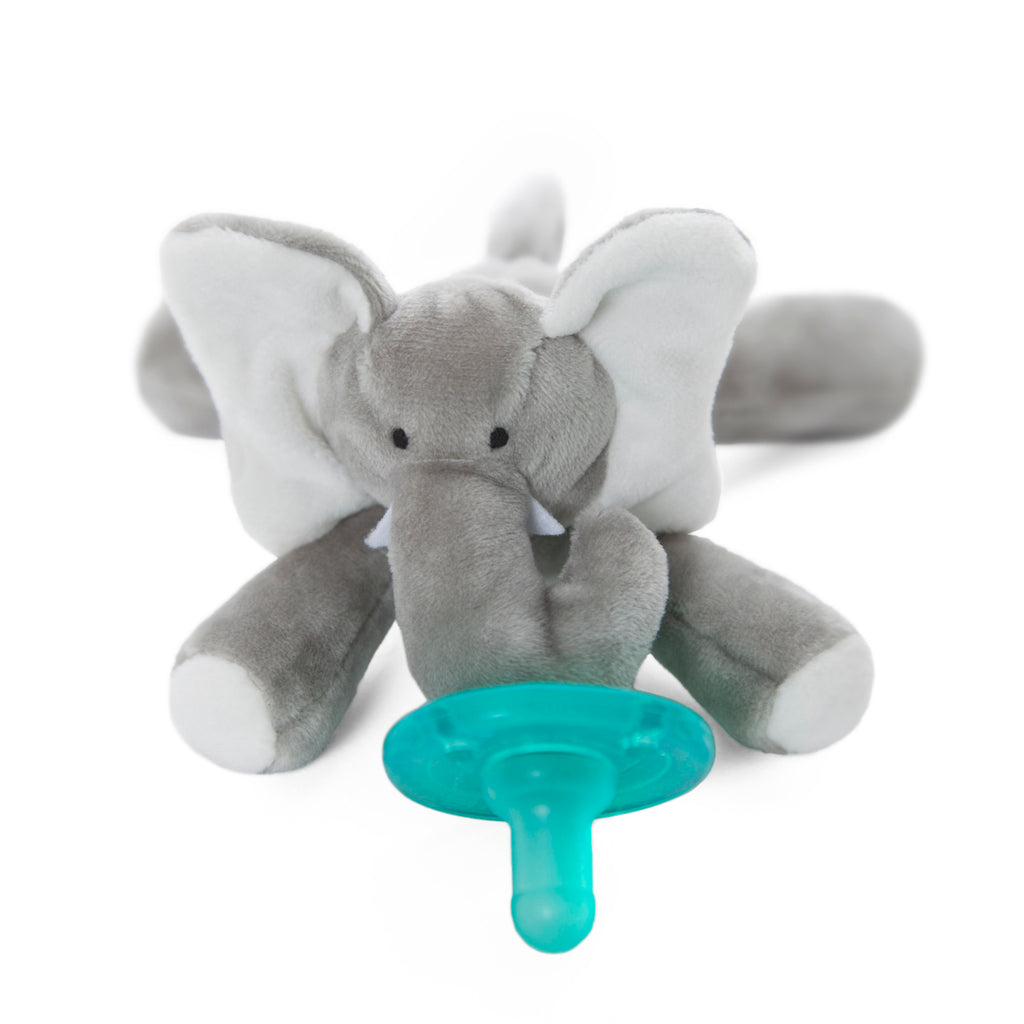 WubbaNub grey elephant plush pacifier has white accents on pads, ears and tusks