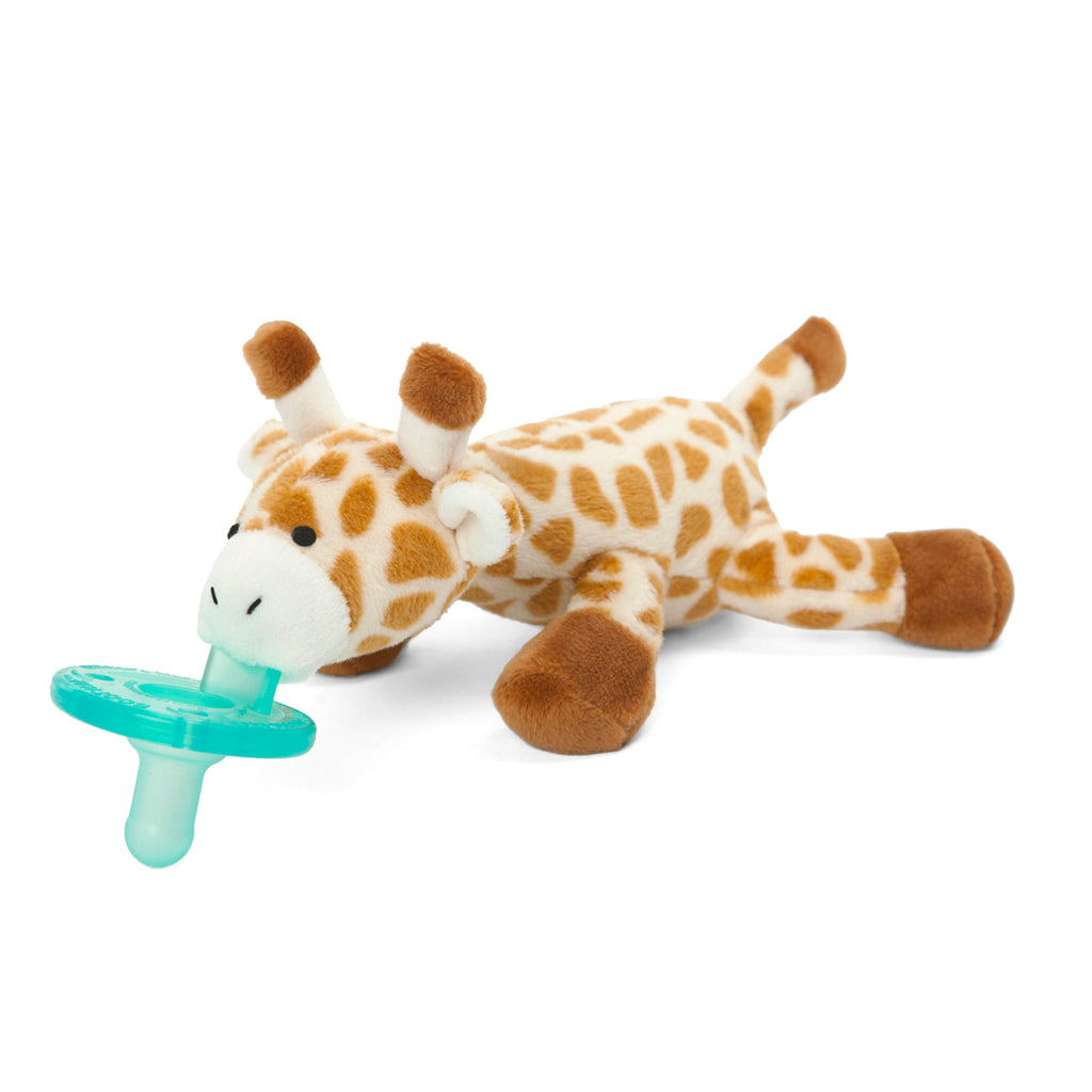 WubbaNub Infant Plush Pacifier Giraffe with spotted tan and white fabric and long neck