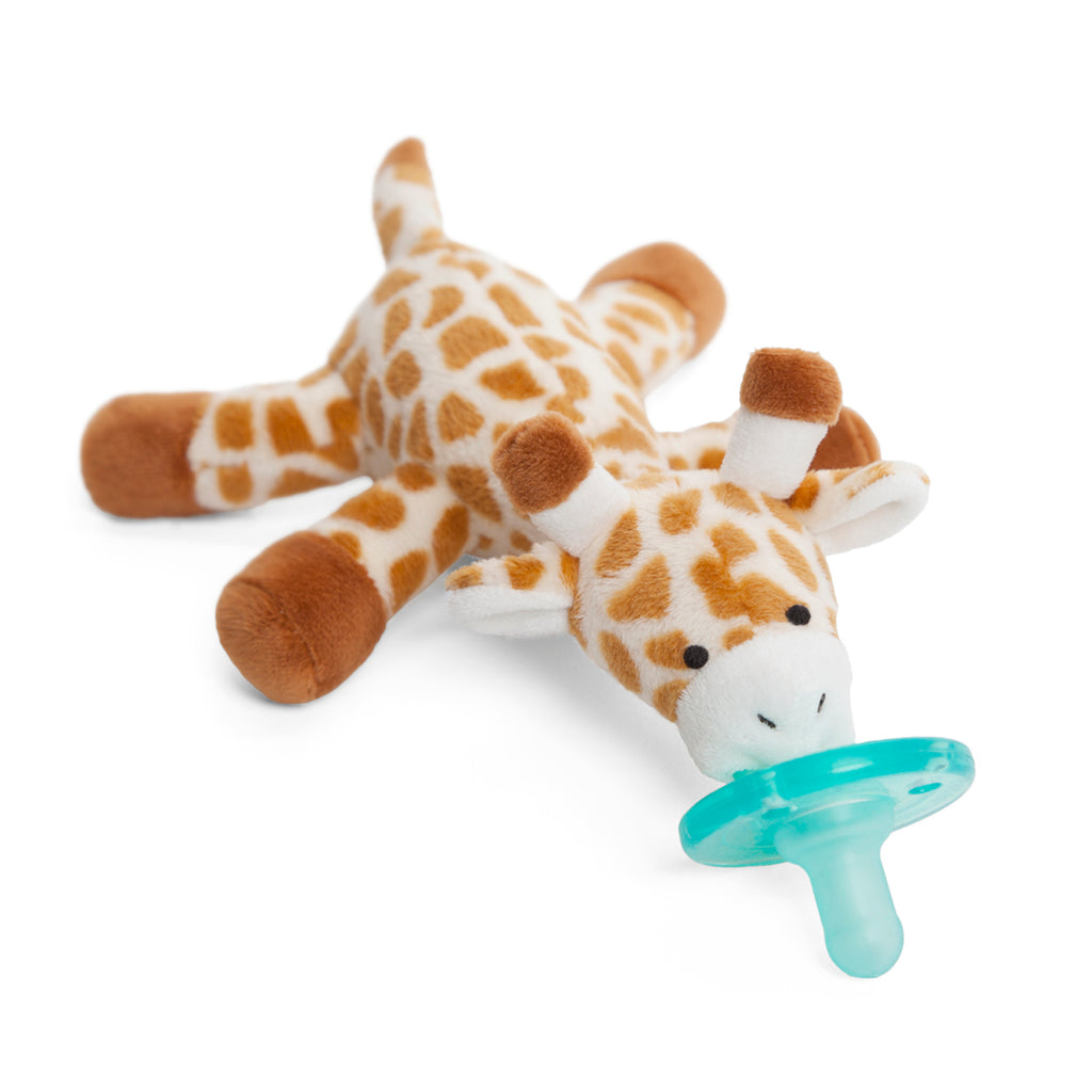 WubbaNub Spotted Giraffe plush pacifier with long neck