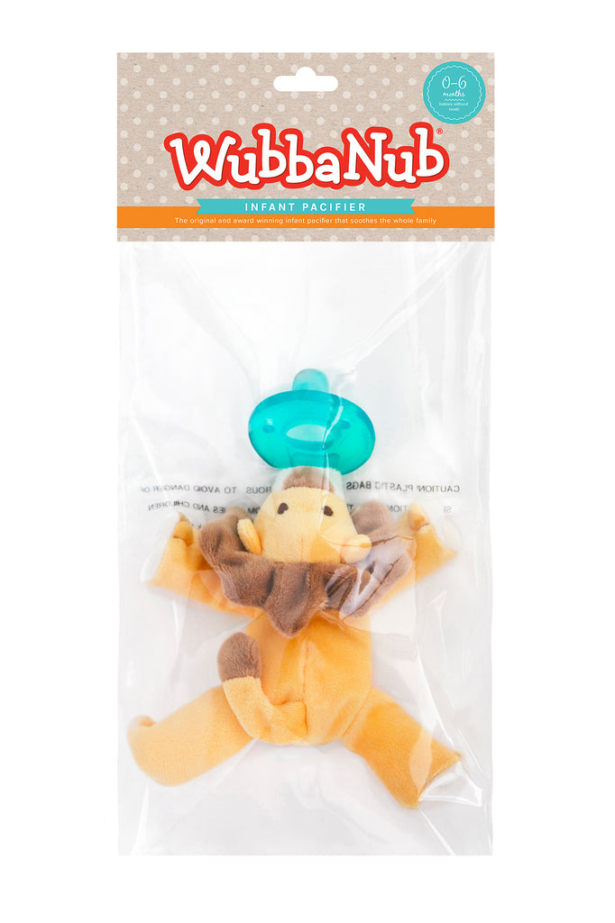 WubbaNub pacifiers sold online are sold in a polybag with header card.