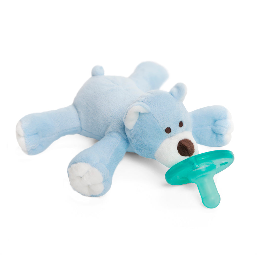 WubbaNub Infant Plus Pacifier Blue Bear is a soft light blue fabric with white accents on paws, face and ears and a brown nose