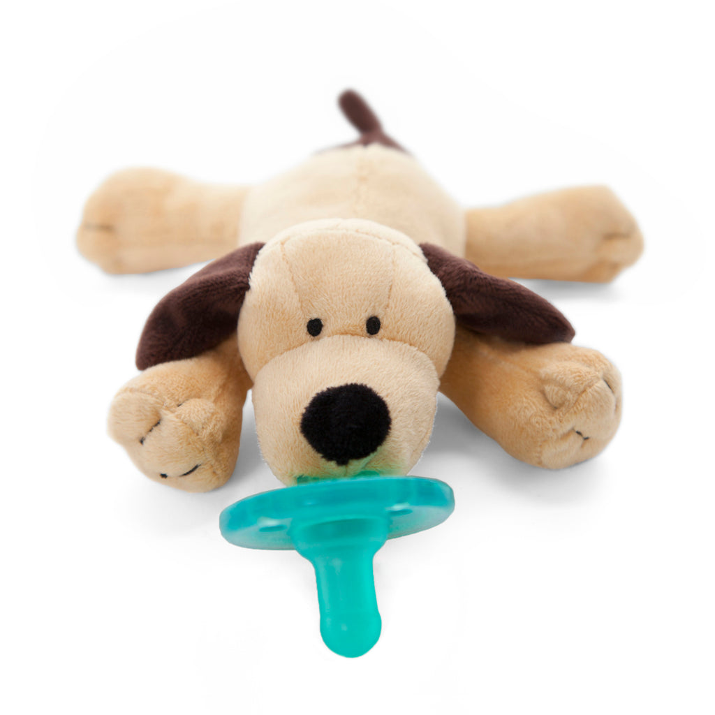 WubbaNub Brown Puppy plush pacifier is tan with dark brown accents