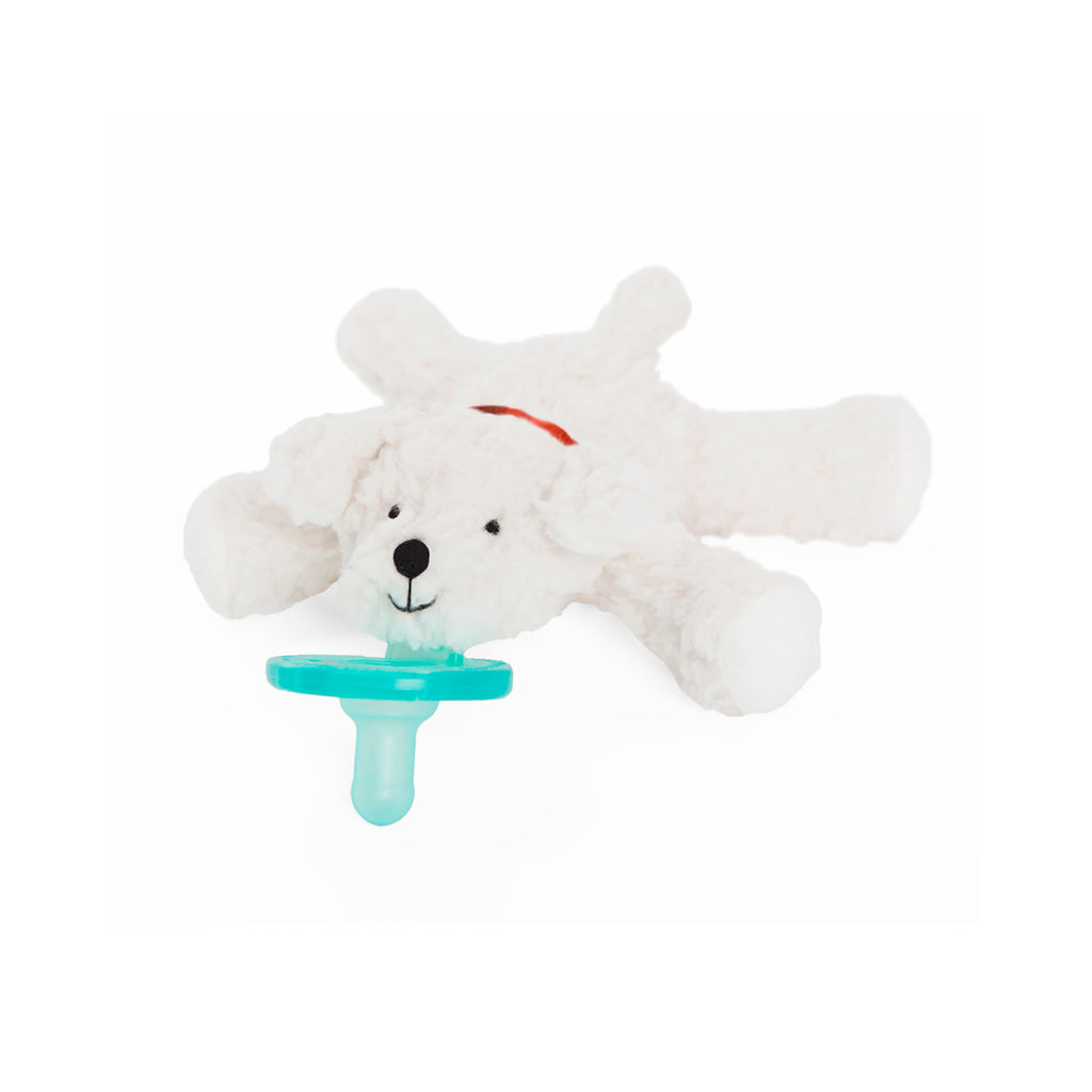 WubbaNub Budster Bichon is fluffy white with an embroidered red collar that has a dog bone on it