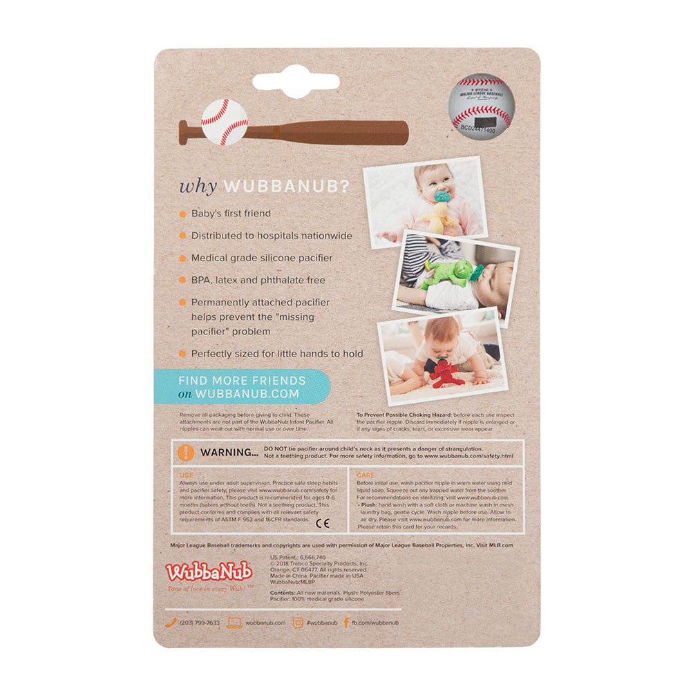 WubbaNub MLB pacifiers are packaged in blister pack cards