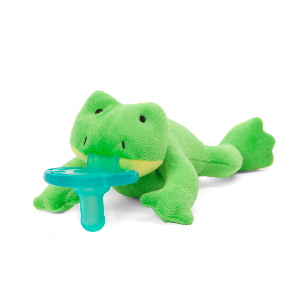 WubbaNub Green Frog pacifier with yellow accents