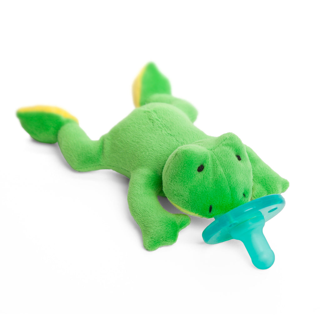 WubbaNub bright green frog with yellow accents