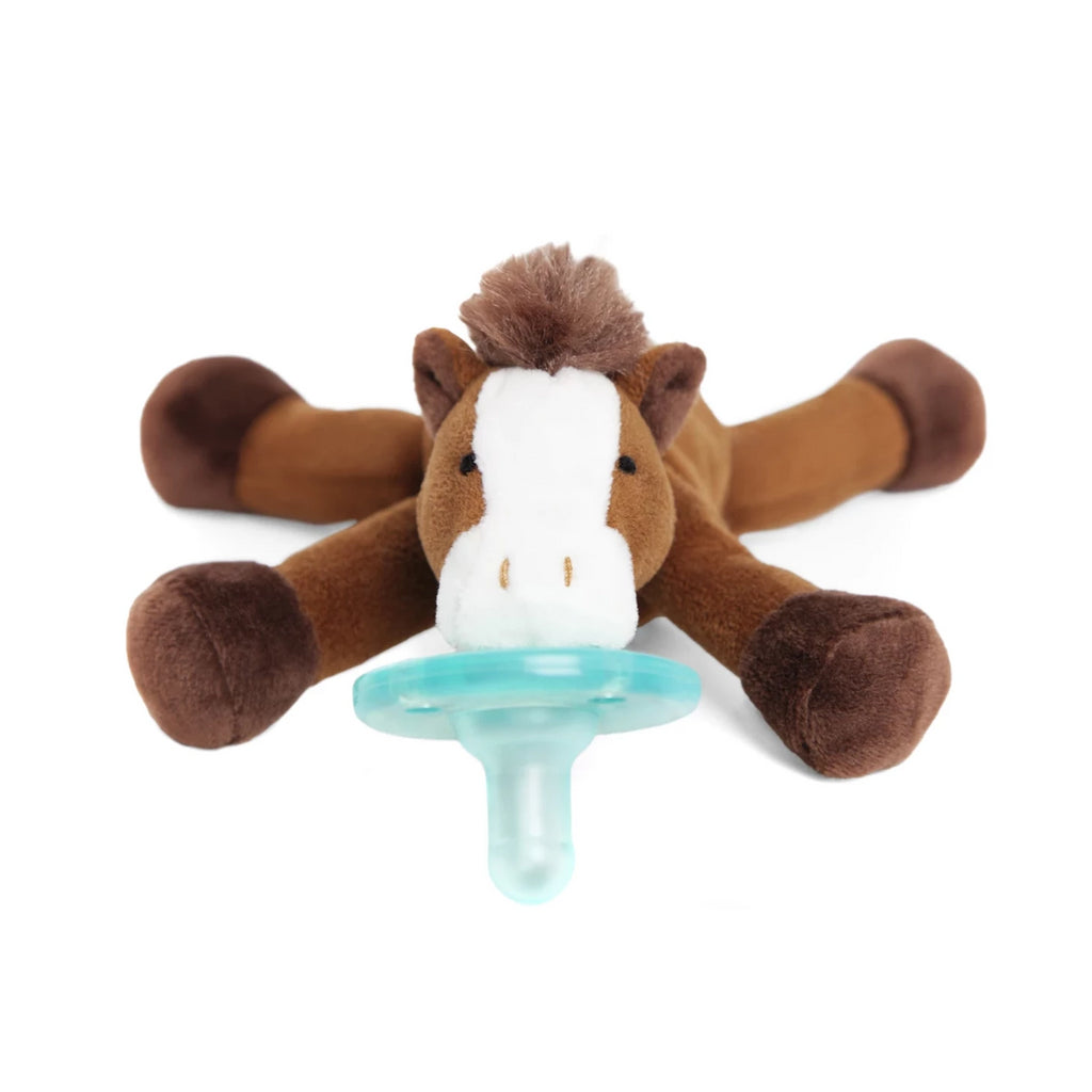 WubbaNub Horse is Brown with white accents and brown fluffy mane