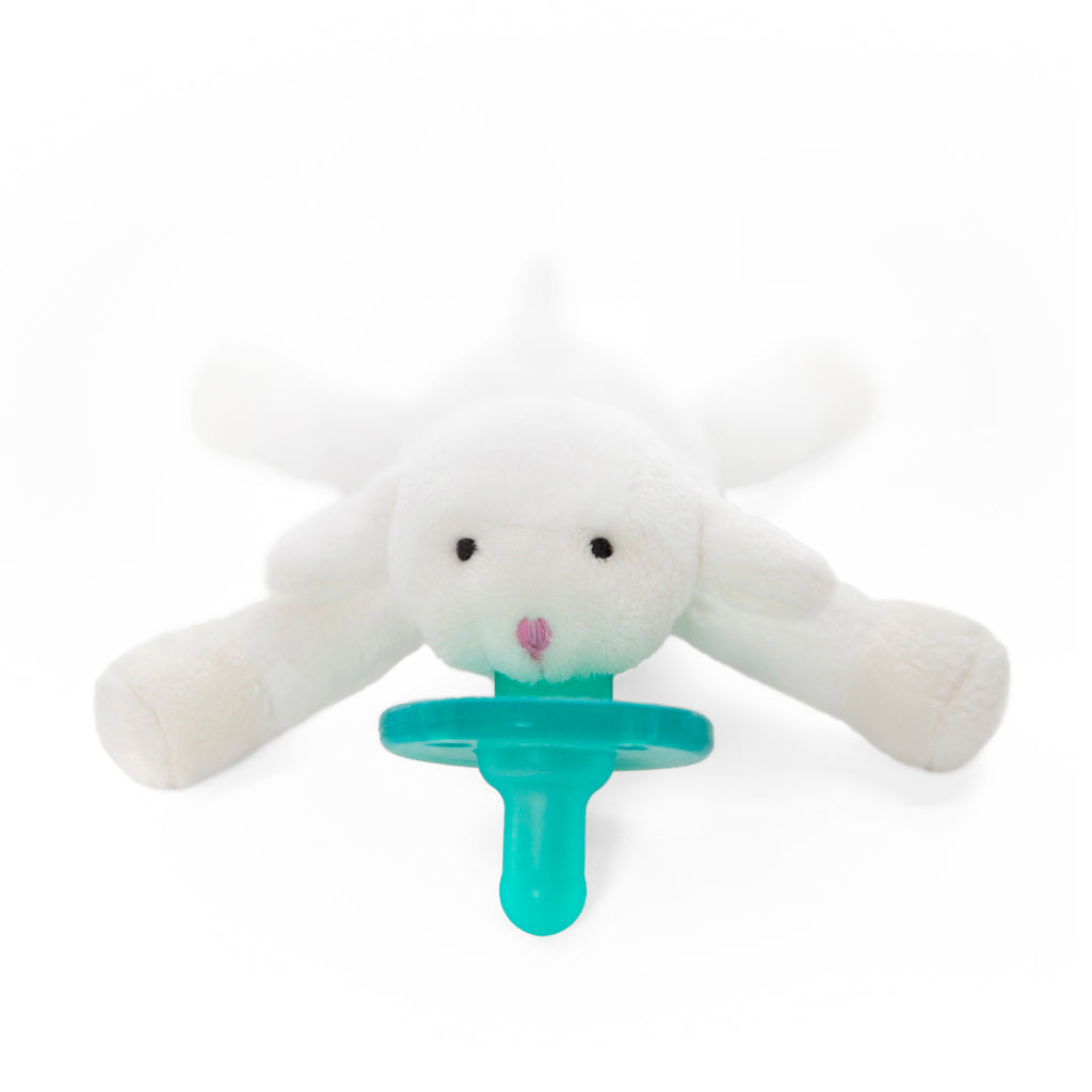 WubbaNub Infant Plush Pacifier Lamb is soft white fabric with a pink nose
