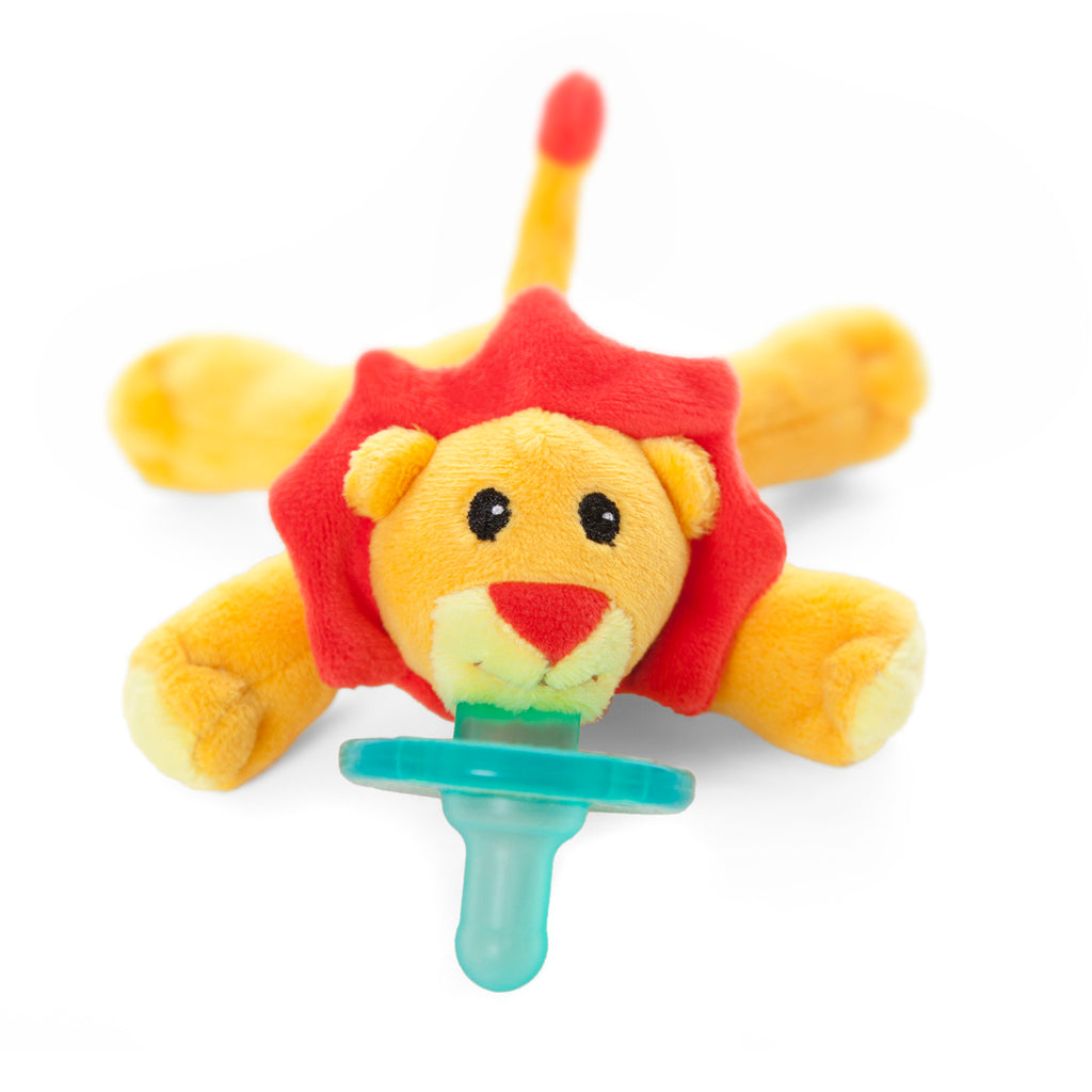 wubbanub infant plush pacifier little lion is bright yellow with accents of orange on mane, nose and tail