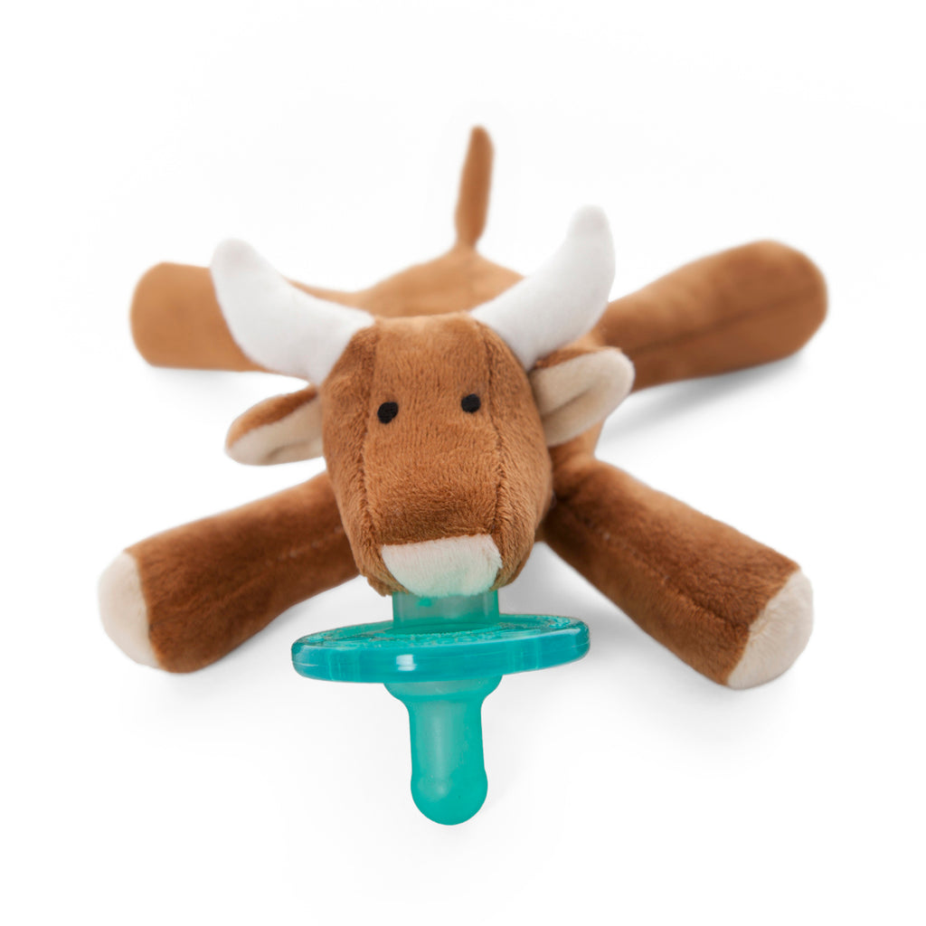 wubbanub infant plush pacifier longhorn bull is brown with tan hoofs and ears and white horns