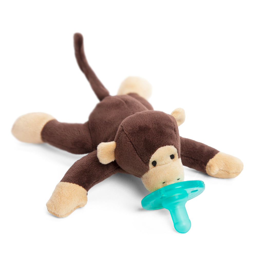 WubbaNub Infant lush Pacifier Monkey is soft brown fabric with tan accents on paws ears and face.