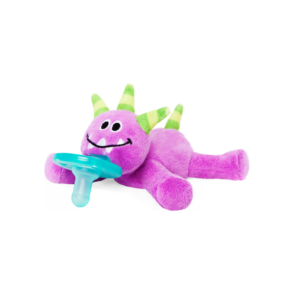 WubbaNub purple monster plush pacifier has green striped horns and tail