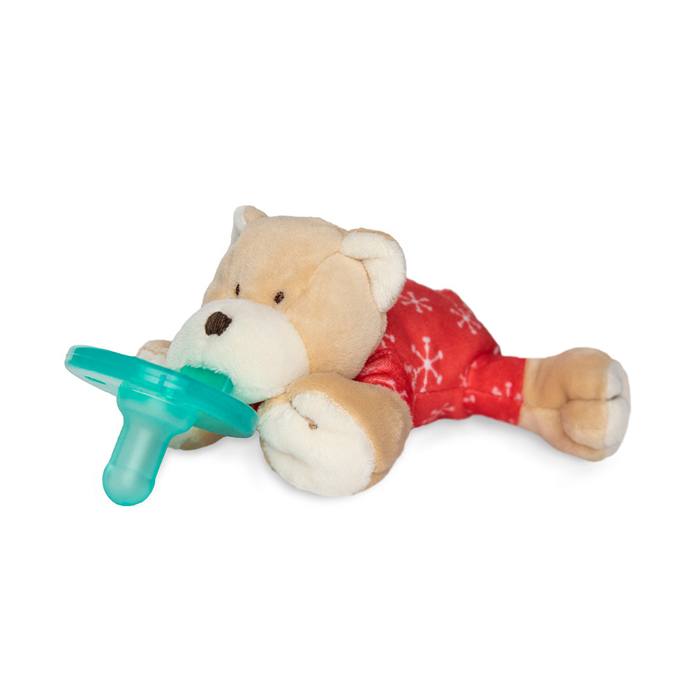 WubbaNub Infant Plush pacifier PJ Bear is a soft tan and white fabric with red flap pajamas with snowflakes