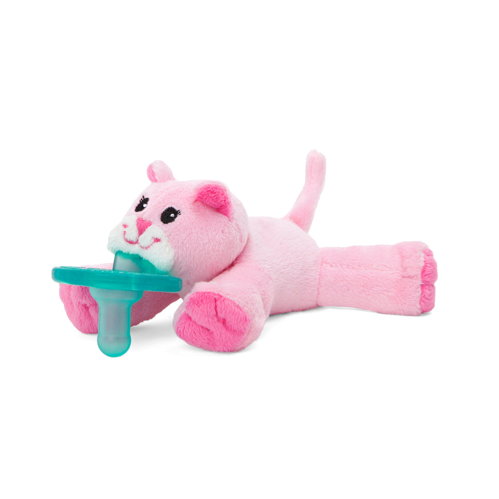 WubbaNub Infant Plush Pacifier Pink Kitty is soft light pink with darker pink paw pads, ears and nose