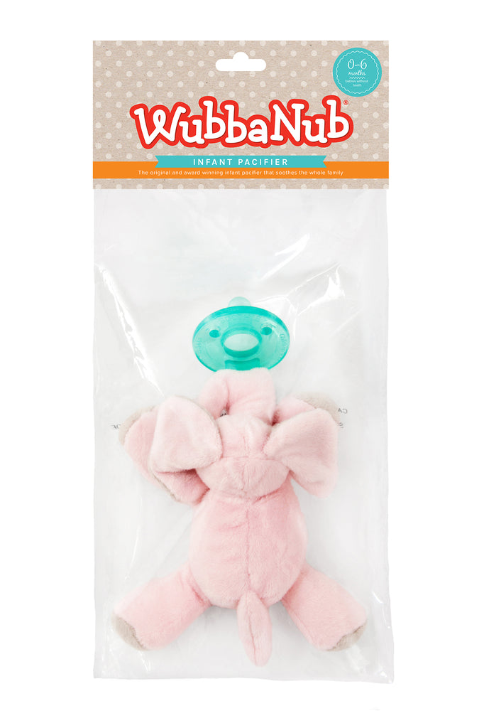 WubbaNub is The Original Plush Pacifier trusted for over 20 years.  WubbaNub pacifiers sold online are sold in a polybag with header card.