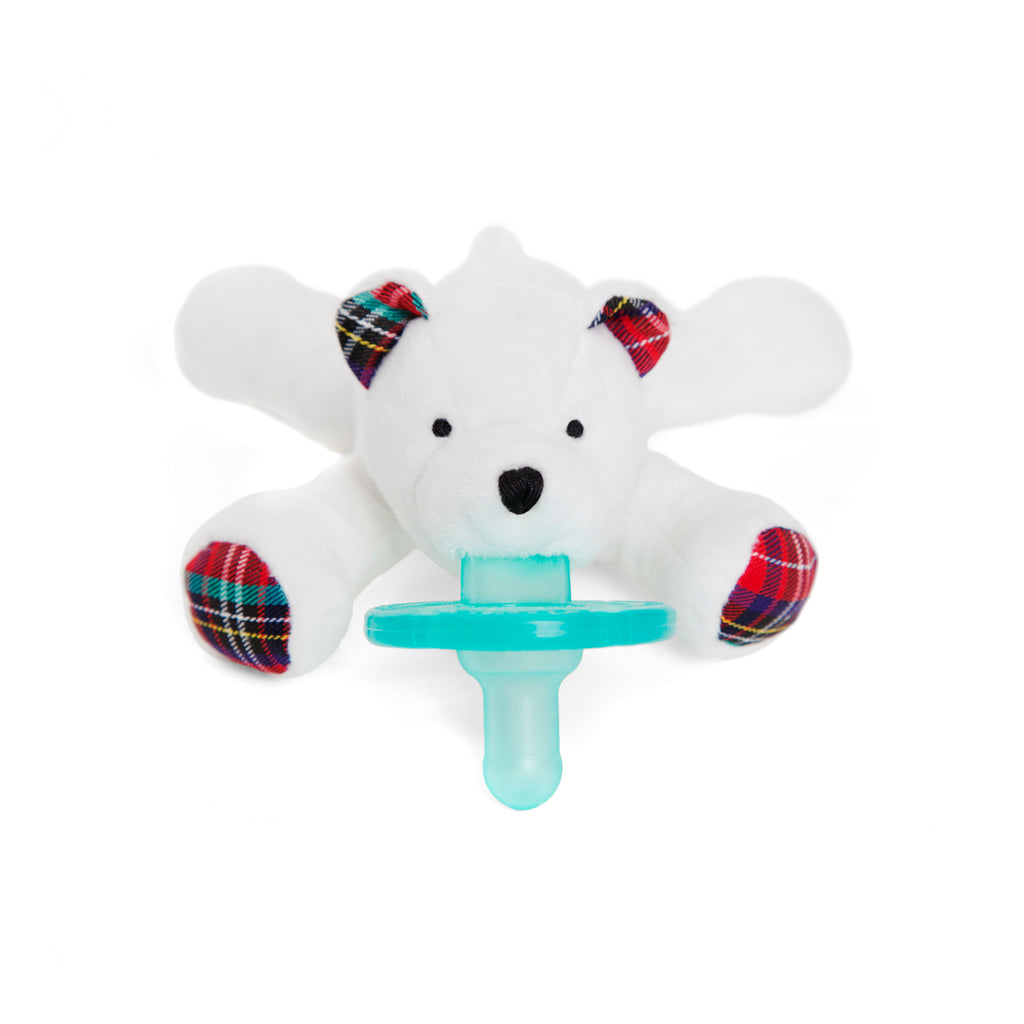 WubbaNub Infant Plush pacifier Polar Bear is a soft snowy white fabric with tartan plaid accents on hoofs and ears