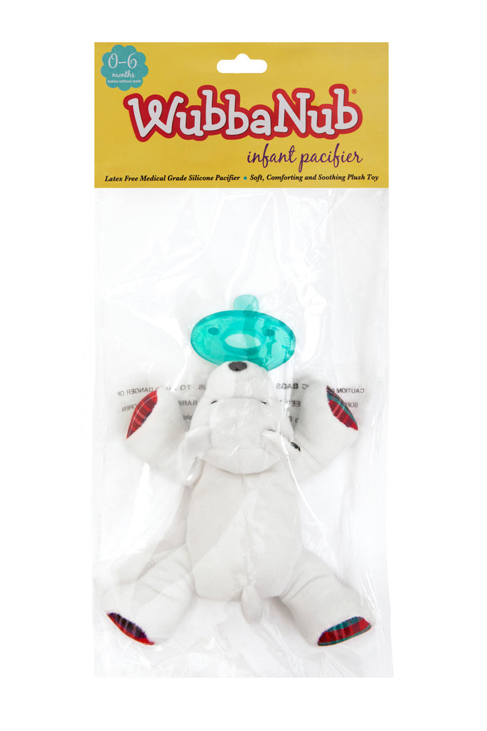 WubbaNub pacifiers sold online are sold in a polybag with header card