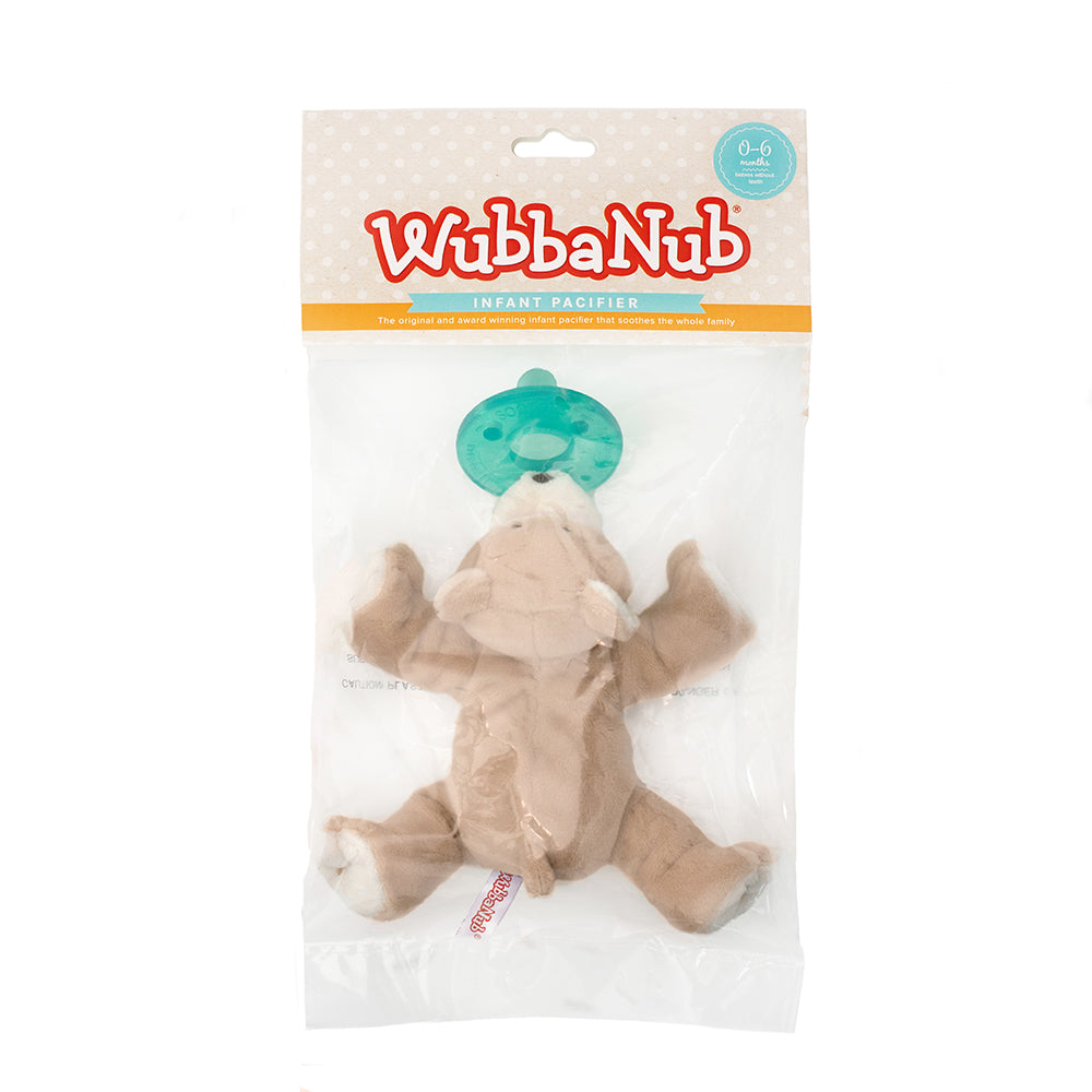 Baby Bear WubbaNub is The Original Plush Pacifier for over 20 years.  WubbaNub pacifiers sold online are sold in a polybag with header card