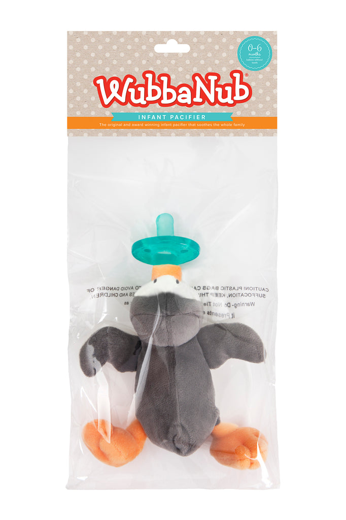 WubbaNub is The Original Plush Pacifier for over 20 years.  WubbaNub pacifiers sold online are sold in a polybag with header card.