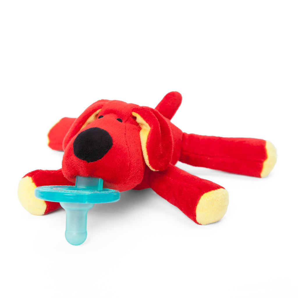 WubbaNub Infant Plush Pacifier Original red dog is soft red fabric with yellow accents on hoofs and ears and a black nose