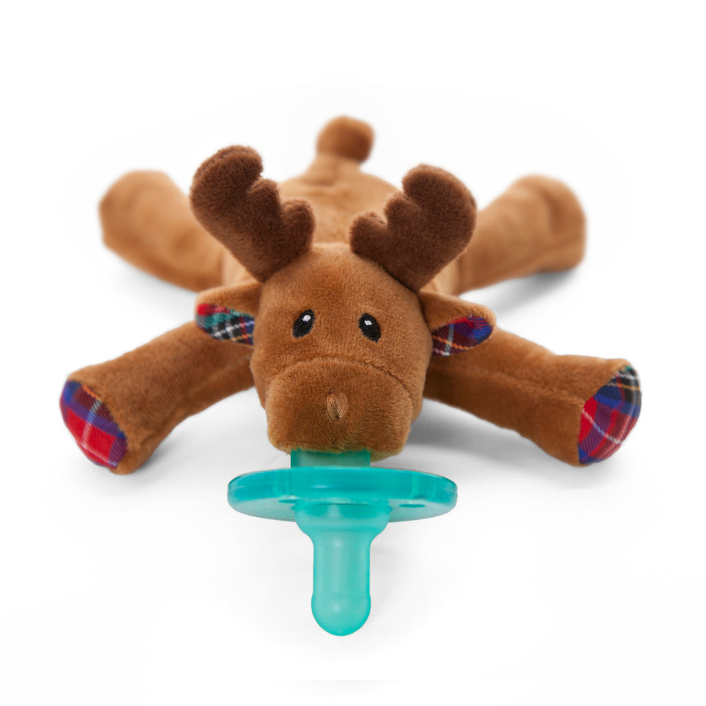 WubbaNub Infant Plush Pacifier reindeer is soft brown fabric with tartan plaid accents on hoofs and ears