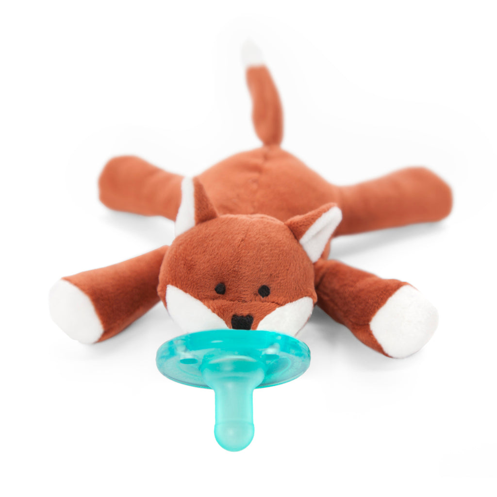 WubbaNub Infant Plush pacifier brown fox with white tipped tail , paws, ears and mouth