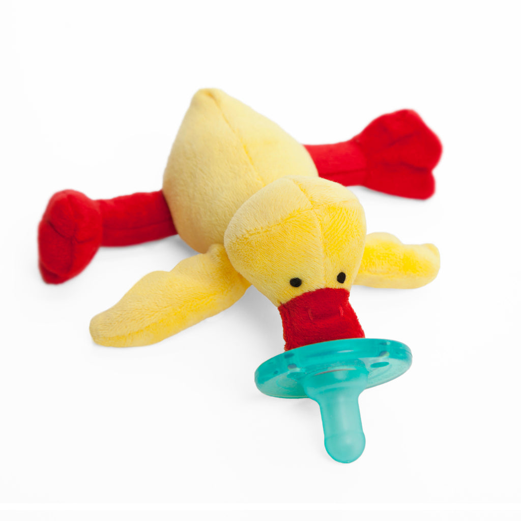 WubbaNub Infant Plush Pacifier yellow duck with red bill and feet