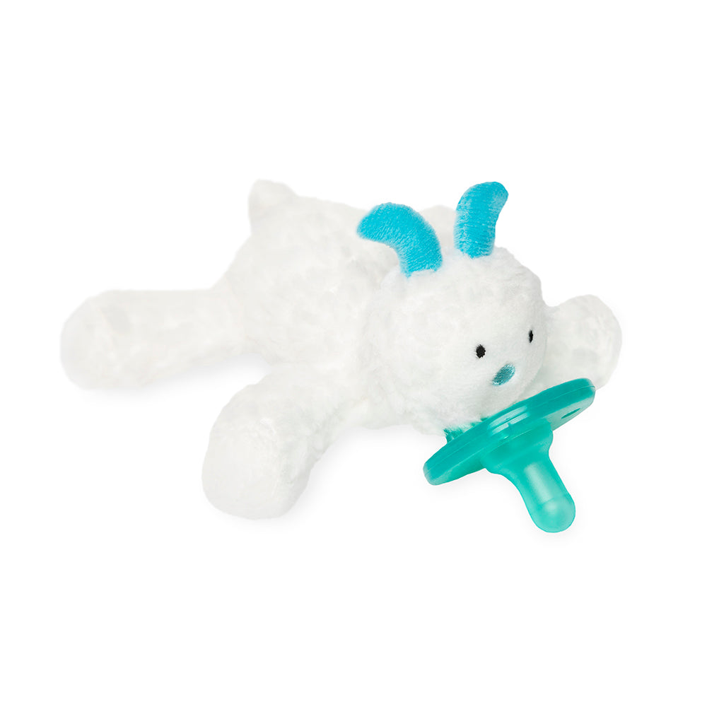 wubbanub infant plush pacifier little yeti is fluffy white with aqua accents on nose and horns