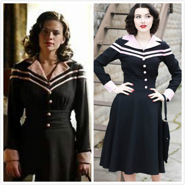 Agent Carter Costume Cosplay Swing Dress