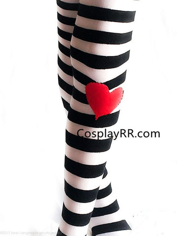 Alice in Wonderland Leggings Black White Striped Tights