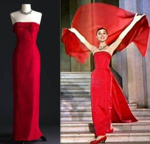 Audrey Hepburn as Jo Stockton Red Dress in Funny Face with Shawl