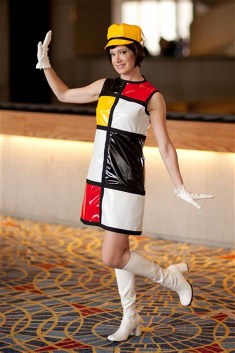 Austin Powers Mondrian Bar Waitress Dress with Hat and Gloves