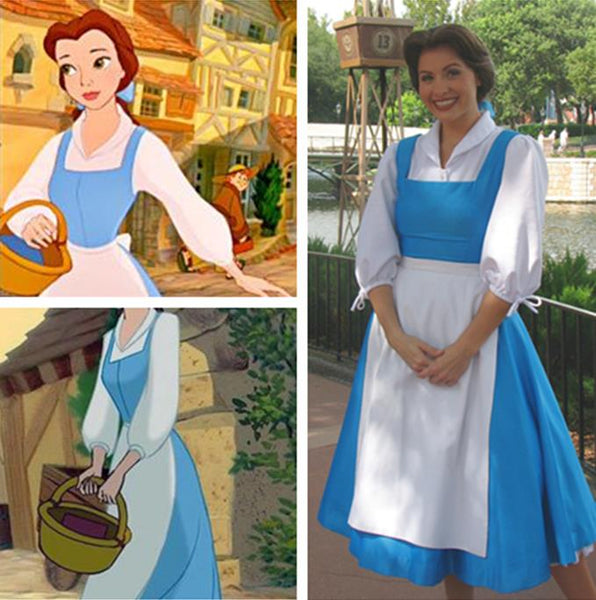 Beauty and the Beast Womens Belle Blue Dress Costume Plus Size Available