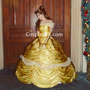 Belle golden dress costume for adult