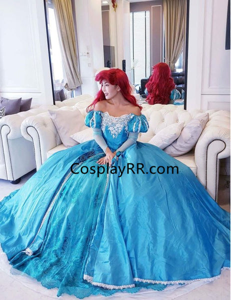 Princess Ariel Blue Dress Cosplay Costume Adults Plus Size