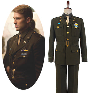 Captain America Steve Rogers Costume WWII Army SSR Uniform Outfits