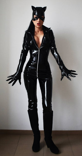 Catwoman Costume Patent Vegn Leather Costume Plus Size without boots