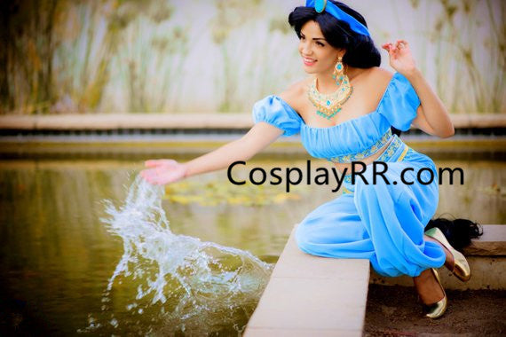 Princess Jasmine Costume for Adult Top+Pants+Headpiece
