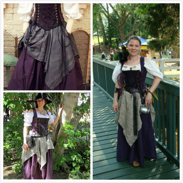 Custom Renaissance Corset Purple Dress Witch Wench Costume