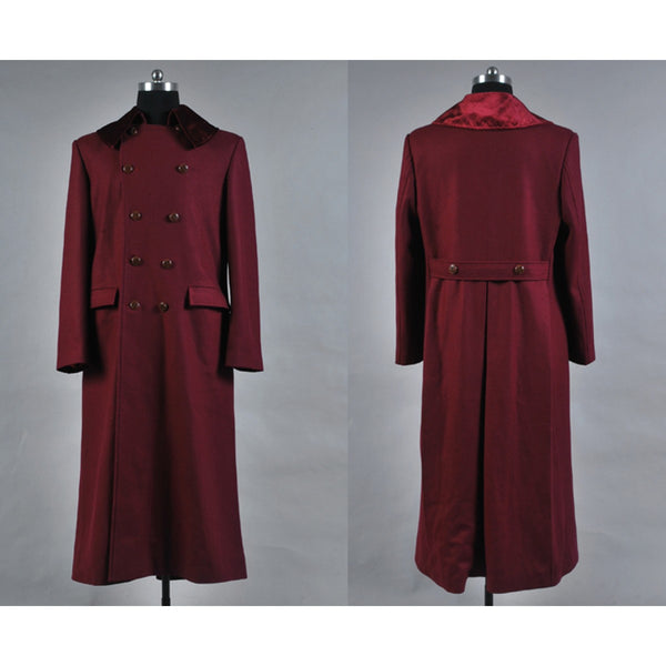 Doctor Who 4th Doctor Costume Red Long Trench Wool Coat
