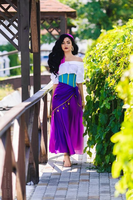 Esmeralda Costume Purple Skirt White Shirt Esmeralda Dress for Women