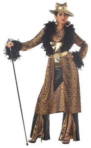 Female Pimp costume for women fur coat with Pimp hat