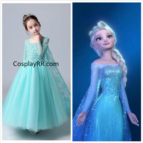 Frozen Elsa Snow Queen dress Princess Costume for girls toddler